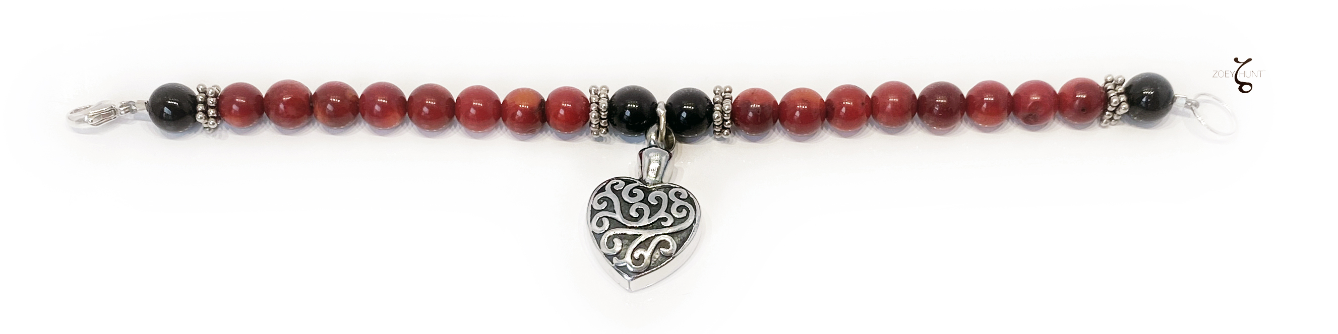 Red Coral Goth Bracelet with Black Onyx Beads and a Heart for Ashes