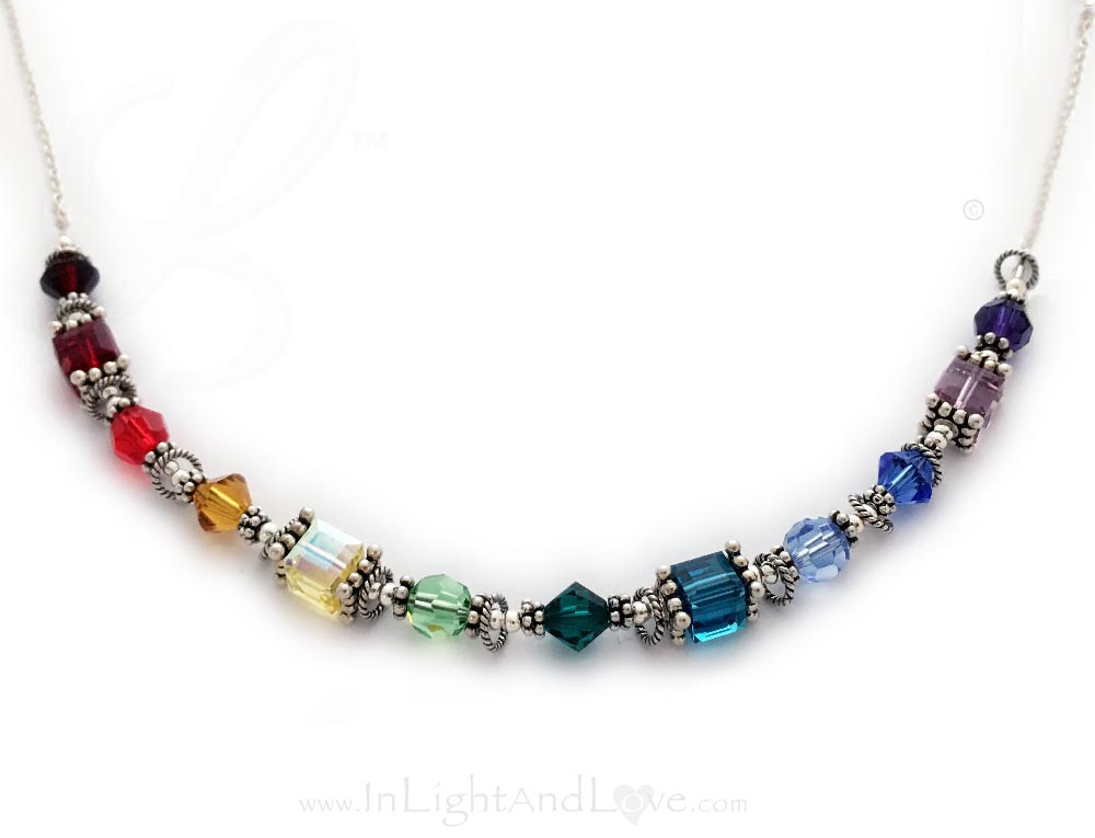 12 Beautiful Chakras Necklace™  LLL-Chakra-N3 This is a sterling silver & Swarovski crystal 12 Chakra Necklace. Chakras are centers of spiritual power in the human body.