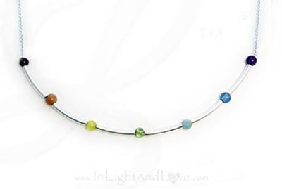 LLL-Chakra-N4 This 3-4mm round Gemstone Crystal Chakra Bracelet™ is made with 3-4mm precious and semi-precious gemstones with each color representing a different chakra and surrounded by beautiful sterling silver tube beads and a sterling silver twisted toggle clasp. The gemstones are Amethyst, Indigo, Aquamarine, Peridot, Cat's Eye, Aventurine and Gar