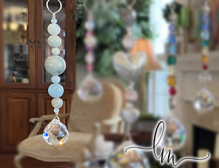 Aquamarine Real Gemstone Crystal Faceted Sun Catchers
