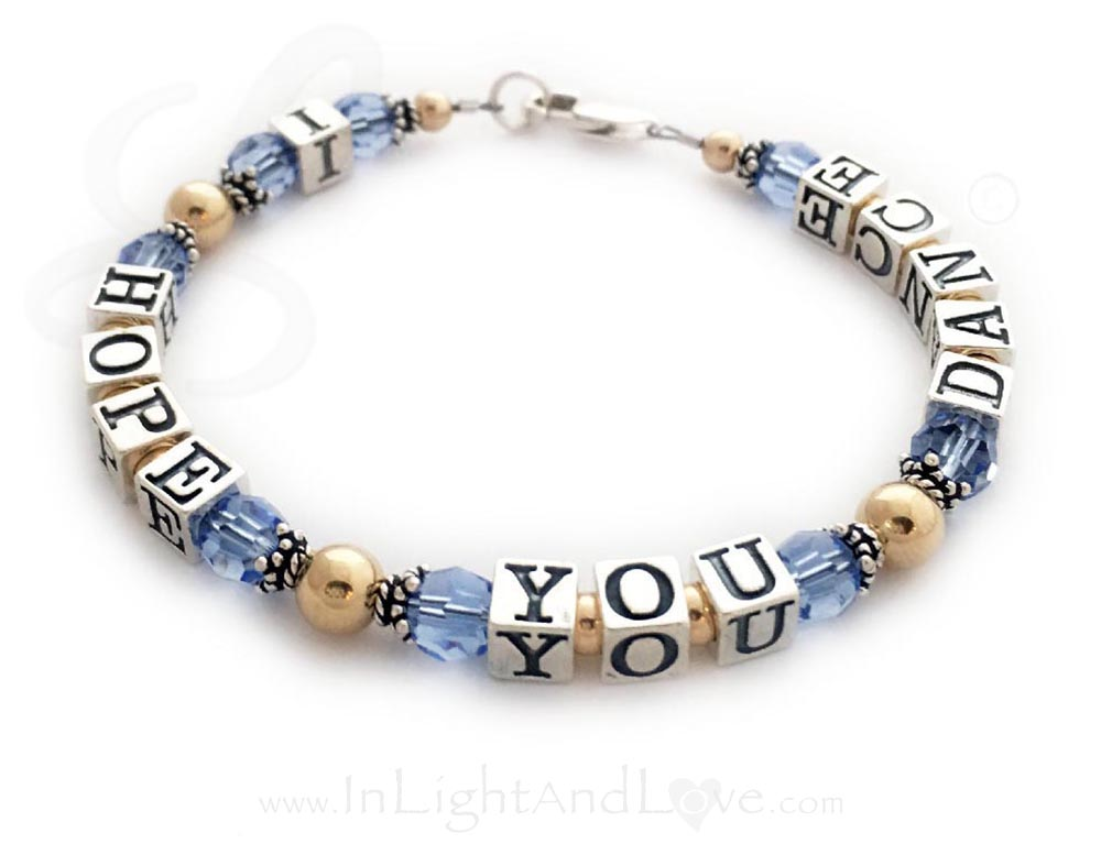 Gold and Sappbire I Hope You Dance Message Bracelet LLL-MB-2
